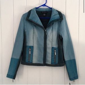 INC International Concepts Jackets & Coats - INC Denim Jean Jacket Colorblocked Moto w/ Collar